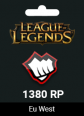 League Of Legends Eu West 1300 RP +80 Bonus RP