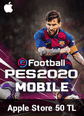 eFootball PES 2020 Mobile Apple Store 50 TL Bakiye 50 TL iTunes Bakiye Satın Al